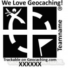 Groundspeak stamp - We love Geocaching & Teamname -  Pocket - 25 x 25