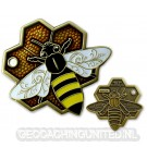 Travel Bee Geocoin - Antique Gold