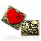 Steampunk Heart Geocoin - Gold - Red