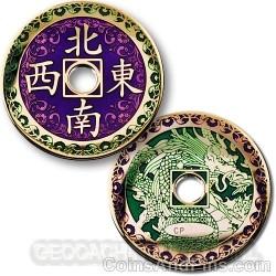 Chinese Dragon Geocoin - Gepolijst Goud