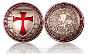 Templar Geocoin - Antique Silver