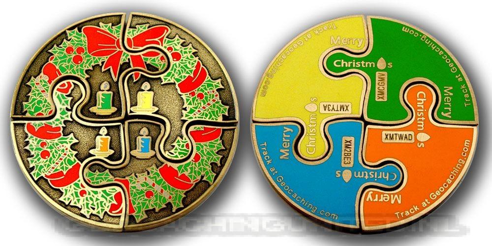 Advent I-IV Geocoin SET (4 Coins) Antique Gold
