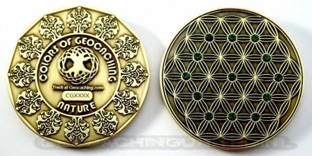 The Colors of Geocaching Geocoin - NATURE - Antique Gold