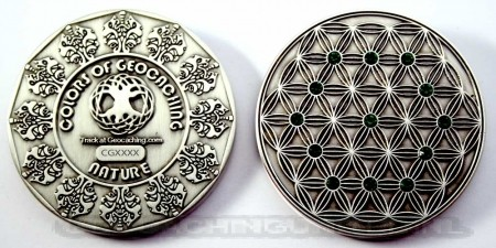 The Colors of Geocaching Geocoin - NATURE - Antique Silver