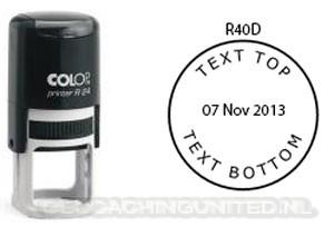 Log stempel - Datum - 40 mm rond - Eigen tekst/logo
