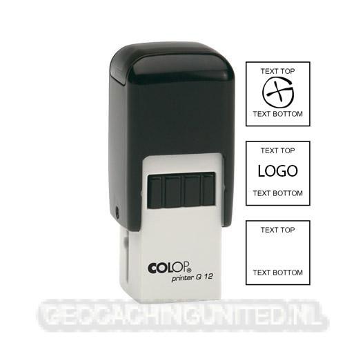 Log stempel - Datum - 24 x 24 mm Vierkant - Eigen tekst/logo