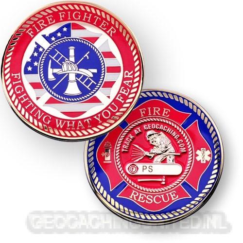 Firefighters Geocoin