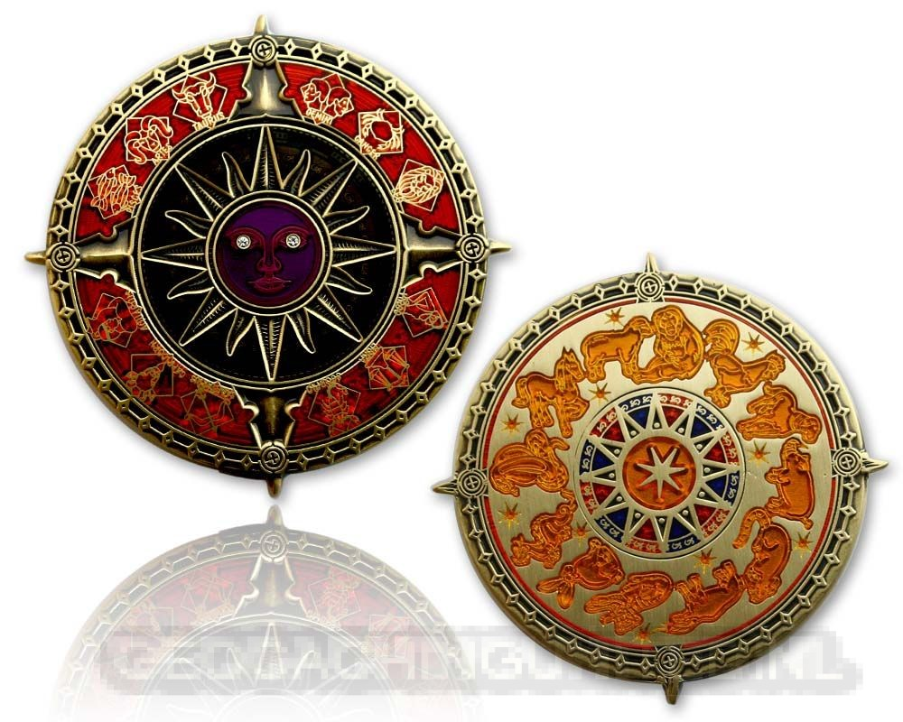 Zodiac Compass Geocoin - Polished Gold - XLE 75