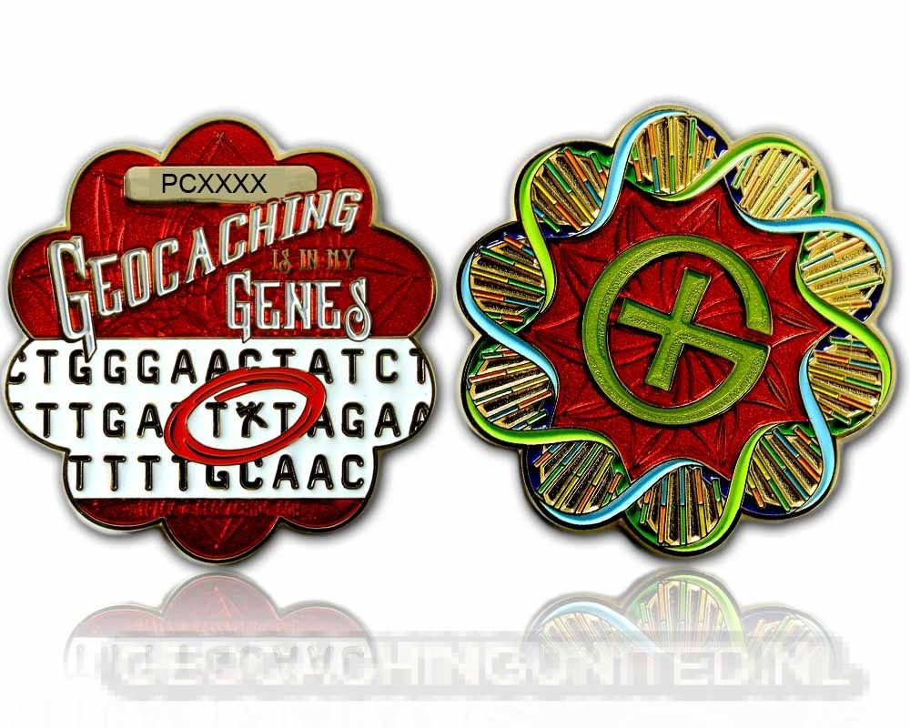 DNA Geocoin - Polished Gold - Red