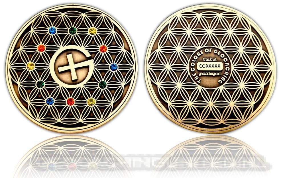 The Colors of Geocaching Geocoin - FLOWER OF LIFE - Antique Gold