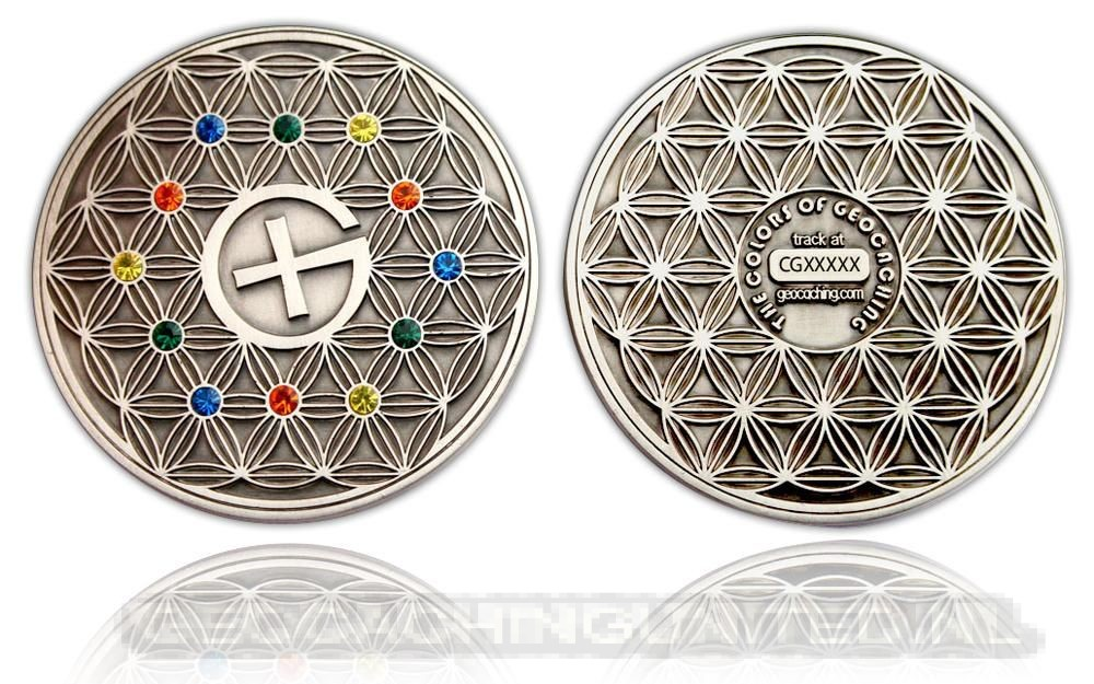 The Colors of Geocaching Geocoin Antique Silver (Flower of Life)