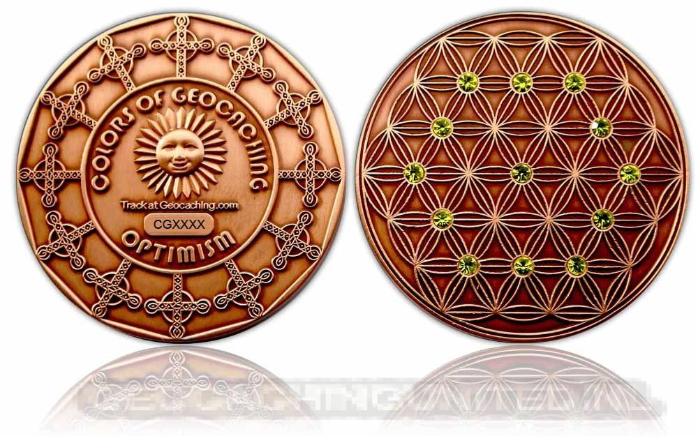 The Colors of Geocaching Geocoin - OPTIMISM - Antique Copper LE (150)