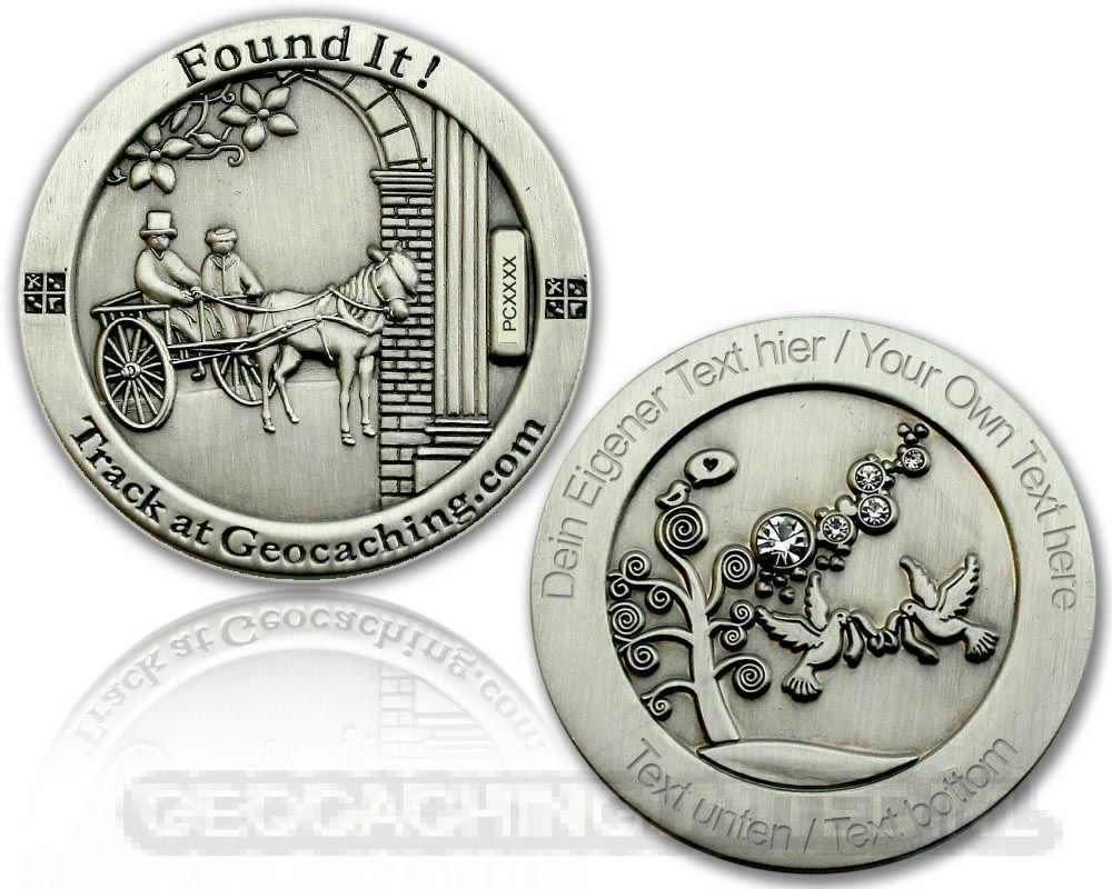 Wedding Geocoin - Antique Silver