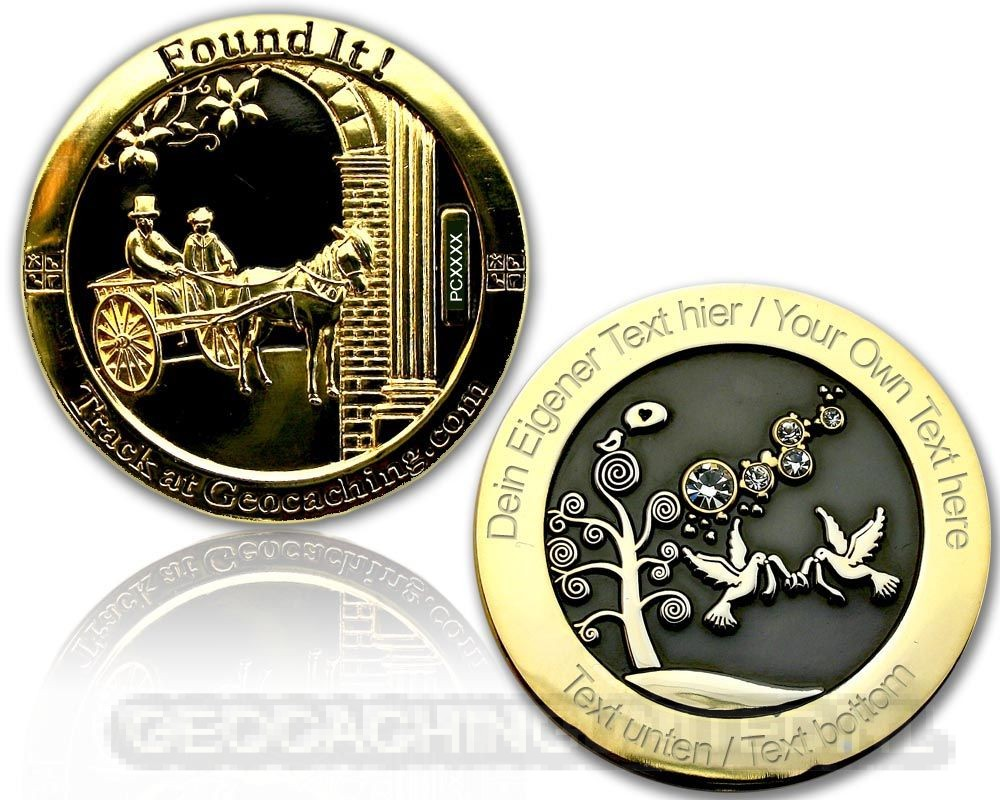 Wedding Geocoin - Black / Gold - XLE 75