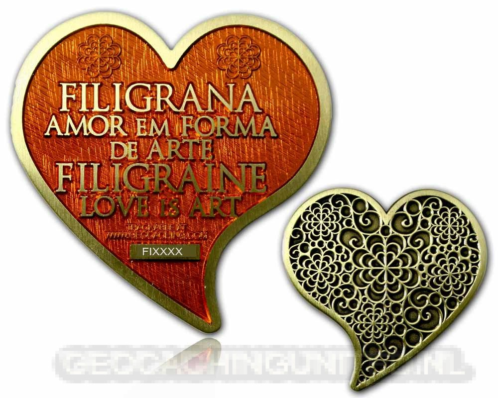Filigrana Love Geocoin -Satin Gold - Ruby