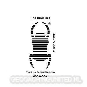 Travel bug stamp - & Custom Text - Pocket 14 x 38