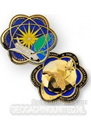 Space Shuttle Geodesic Geocoin 3D - Gepolijst Goud