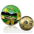 Cache'n'Bike Geocoin Antique Gold LE 100