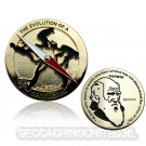 The Evolution of a Geocacher Geocoin - Polished Gold - LE 150