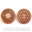 The Colors of Geocaching Geocoin Antique Copper (Flower of Life)