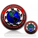 World Traveler Geocoin - Silver / Red