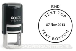 Log stempel - Datum - 24 mm rond - Eigen tekst/logo
