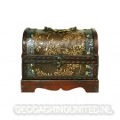 Ornated Geocaching Treasure Chest - Open (Content Not Included)