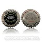 Enigma Geocoin - Polished Silver / Black Nickel