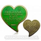 Filigrana Love Geocoin -Satin Gold - Ruby