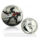 The Evolution of a Geocacher Geocoin - Polished Silver - LE 150
